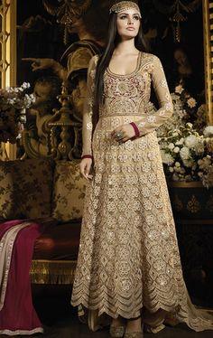 Fascinating Beige Designer Anarkali Salwar Suit