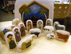 needlepoint nativity by Petei, so glad her canvases are available again. I wish her good Health and peace.