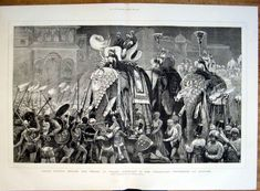 """""""Nagas dancing before the Prince of Wales' elephant in the torchlight procession at Jeypore"""", Graphic magazine, 1876"""