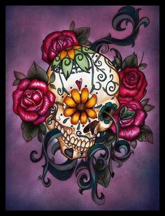 This is beautiful! I love sugar skulls, its definately something I want as a next tattoo