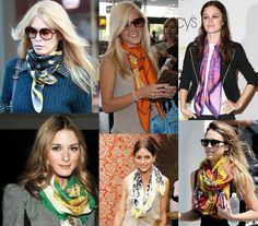 Celebrities wearing Hermes scarves