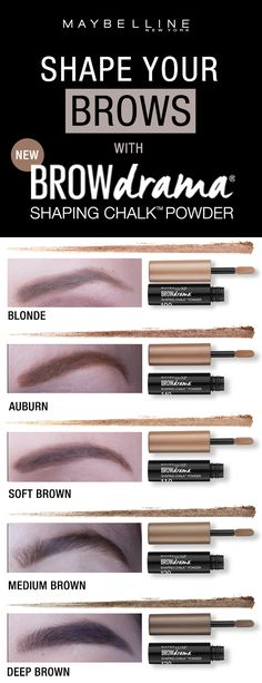 Get natural, softly shaped and defined brows using the NEW Maybelline Brow Drama Shaping Chalk Powder. Available in 5 shades!