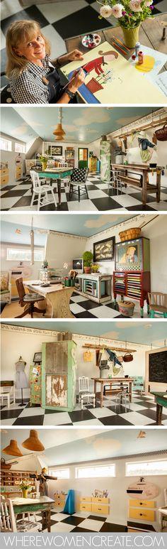 The studio of Jona Thomson of Little Hill Farm. As seen in Where Women Create magazine May/Jun/Jul 2015 Vol. 7 Issue 3.
