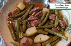 german green bean soup | A German Girl in America Easy Delicious Recipes, Yummy Food, Summer Savory, Pea And Ham Soup, Chowder Recipes, Bean Soup, One Pot Meals, Ground Beef, Green Beans