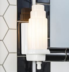 Max Wattage Per Socket UL Listing UL Listed Damp Canopy Width Overall Width Overall length Overall Projection Shade height Echo Large Art Deco Porcelain Wall Sconce Art Deco Kitchen, Art Deco Bathroom, Bathroom Sconces, Bathroom Wall Lights, Wall Sconces, Bathroom Lighting, Bathroom Ideas, Art Deco Wall Lights, Bathrooms