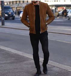 Men calf suede leather jacket