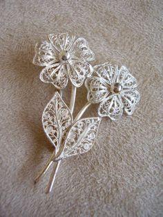925 Brooch 1950s Lace Filigree Flower Spray by Vintage0Sparklers