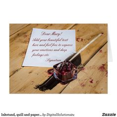 Inkstand, quill and paper customizable card