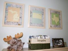 Love this custom state wall art in this travel themed #nursery