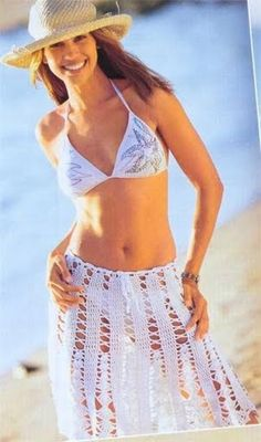White Openwork Skirt Coverup free crochet graph pattern