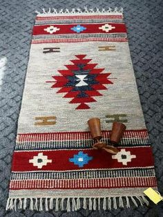 Nile Flowers Egyptian handmade Kilim, Hand woven & knotted in Egypt, Made from finest material All sizes & colors are available Material: Wool Motif Navajo, Aztec Blanket, Native American Design, Bead Crochet Rope, Tapestry Weaving, Woven Rug, Kilim Rugs, Vintage Rugs, Hand Weaving