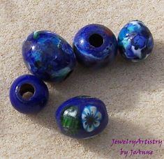 Blue Glass Beads  Random Selection of 5 by JewelryArtistry on Etsy, $15.00