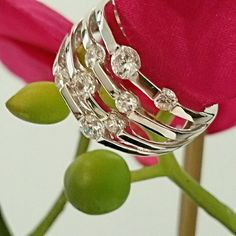 Estate Sterling Silver CZ Ring This beautiful ring is marked 925 Milor Italy.  (Designer)  Very stunning looking. Milor  Jewelry Rings
