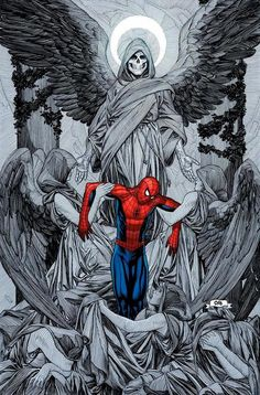 The Death of Spider-Man by Frank Cho #FrankCho #SpiderMan #Avengers #PeterParker #DailyBugle #WebSlinger #NewYorkCity #comicart