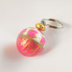Painted Ball Keychain with Animal Prints, painted keychain, zebra, leopard, keyring,pink and gold, zebra keychain, leopard keychain, gold by HazelMartinDesigns on Etsy