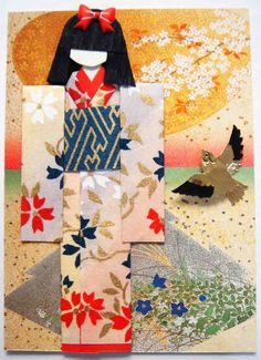 ATC370 - Spring-Summer Beauty. ATC with handmade Japanese paper doll.