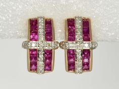 Catawiki online auction house: Earrings in 585/1000 gold with diamonds and rubies.