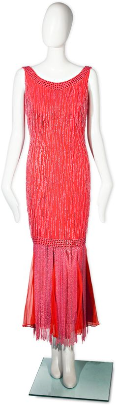 """YSL for Dior c1959   Haute Couture in red silk, glass and crystal. """"A rare example of the Yves Saint Laurent era at Dior, when Saint Laurent was appointed Head of the House of Dior upon the Dior's death, at only 21 years old.""""   WiliiamVintage"""