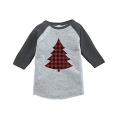 7 ate 9 Apparel Kids Plaid Tree Christmas Red Raglan Onepiece