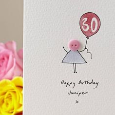 Personalised Handmade Button Balloon Birthday Card