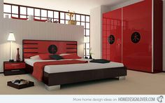 One of the typical Japanese interior is a Japanese style bedroom. Japanese style bedroom is full of philosophy. Accuracy is achieved by placing the opposite nature of the constituent material Japanese bedroom. Red Bedroom Themes, Red Bedroom Design, Bedroom Red, Bedroom Colors, Modern Bedroom, Bedroom Designs, Bedroom Ideas, Black Bedrooms, Bedroom Pictures