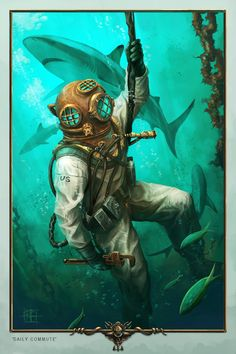 DailyCommute by Cpt-Crandall on DeviantArt Charles Trenet, Character Art, Character Design, Diving Helmet, Diving Suit, Deep Sea Diver, Sea Tattoo, Sea Diving, Underwater Art