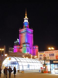Palace of Culture and Science by night. Warsaw, Poland.