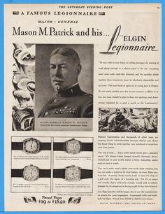 1929 Elgin Watch Major General Mason Patrick Legionnaire Air Service Military Ad | eBay