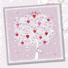 Our current best-selling card from the new range: Anniversary Tree. Anniversary Cards, Wedding Anniversary, Wedding Engagement, Flamingo, Card Stock, Greeting Cards, Tree Shop, Gift Wrapping, Valentine Cards
