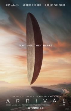 Watch two new trailers for Denis Villeneuve's (Sicario) upcoming sci-fi drama 'Arrival' starring Amy Adams, Jeremy Renner & Forest Whitaker. Arrival Poster, Arrival Movie, Science Fiction, Fiction Movies, New Movie Posters, Movie Poster Art, Jeremy Renner, Amy Adams, New Movies