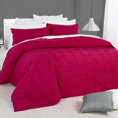 KOO Weston Pintuck Duvet Cover Set Rosebud Queen