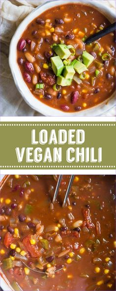 Loaded vegan chili this vegetarian chili has 3 different kinds of beans in it making it a very satisfying and filling chili that even meat eaters will love! chili soup vegan the ultimate vegan chili Best Vegan Chili, Vegetarian Chili, Vegetarian Recipes, Healthy Recipes, Meatless Chili, Vegan 3 Bean Chili, Vegan Bean Soup, Vegan Soups, Vegan Meals