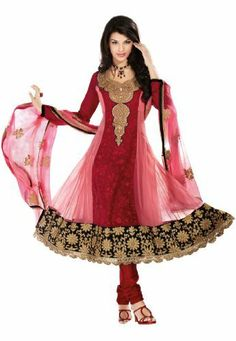Fabdeal Women's Indian Designer Wear Embroidered Anarkali Suit Pink & Maroon Fabdeal