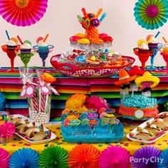 Mexican Fiesta Dessert Ideas - Candy in mini marg glasses, cupcakes in regular marg glasses