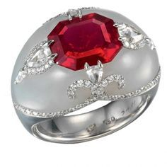 Ruby and white jade ring by Bogh-Art  so beautiful.  one of my favorites