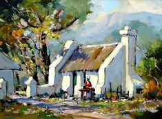Artwork of Dale Elliot exhibited at Robertson Art Gallery. Original art of more than 60 top South African Artists - Since African Art Paintings, Oil Paintings, Bright Colors Art, Mini Canvas Art, Cottage Art, South African Artists, Landscape Artwork, Watercolor Artists, Fine Art