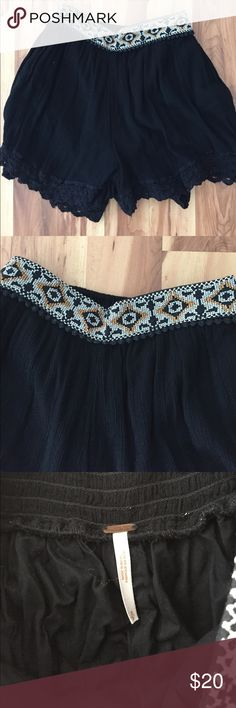 Free People Shorts Cute embroidered design on top and lace at the bottom.Shell is 100% Rayon lining is 100% Cotton Free People Shorts