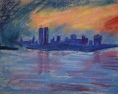 NYC ORIGINAL PAINTING/New York with twin towers in the evening . Original Handmade Fine Art Pastel On Paper