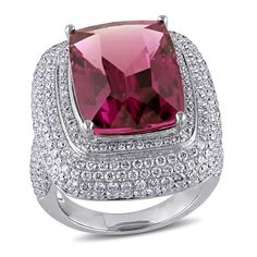 Miadora Signature Collection 14k White Gold Tourmaline and 2 3/4ct TDW Diamond Ring