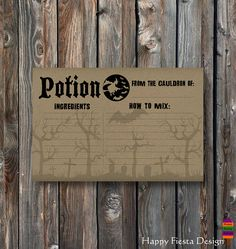 PRINTABLE Halloween Recipe Card-Potion Recipe Card-Witch