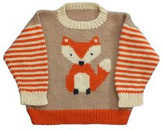 Ravelry: Fox Pullover pattern by Gail Pfeifle, Roo Designs : paid patternThis Pin was discovered by Eri Baby Boy Knitting Patterns, Knitting For Kids, Baby Patterns, Knit Patterns, Knitting Projects, Free Knitting, Fox Sweater, Knit Baby Sweaters, Crochet Baby