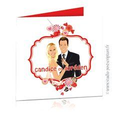 Faire-part de mariage gourmand bonbon candy bar - sweet wedding invitation card save the date © www.studio-postscriptum.fr