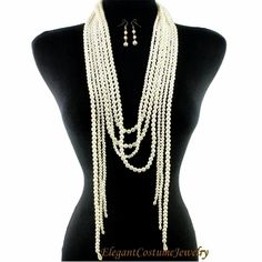 Ivory Fringe Long Pearl Chunky Necklace Set Elegant Jewelry