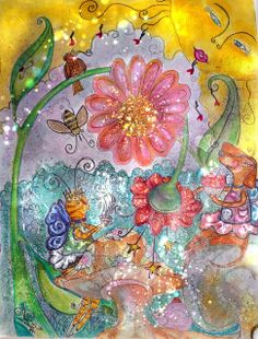 Millie and Katalily's tea party original artwork by valerie helms breedlove