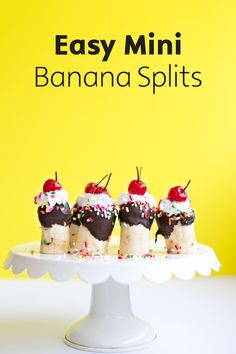 These adorable Easy Mini Banana Splits are a fun treat to serve to your little ones. With prep so easy, this bite-sized dessert is great for serving up on any occasion—big or small!