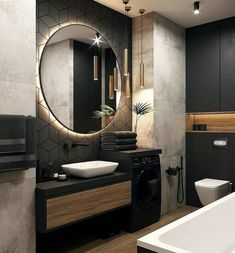 Backlit LEDs give you that extra bit of light that you need to be precise without being uncomfortable to the eyes. Dream Bathrooms, Amazing Bathrooms, Small Bathroom, Bathroom Goals, Interior Design Career, Interior Decorating Styles, Best Bathroom Designs, Bathroom Design Luxury, Bad Inspiration