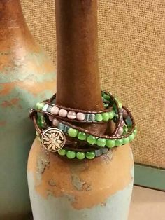 Check out this item in my Etsy shop https://www.etsy.com/listing/214340974/4-wrap-leather-and-glass-bead-beaded
