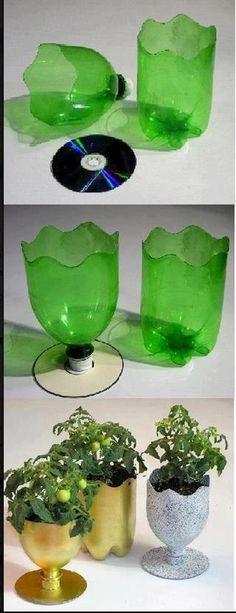 Vasinhos de garrafa pet