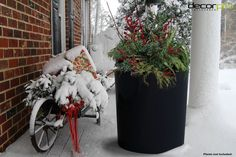 Vienna (Large) Planter | Decorpro Create a winter scene of pine tree perfection with bright berries and evergreen branches that elegantly fall over the edge of these weatherproof planters. Large Planters, Elegant Homes, Winter Scenes, Winter Time, Evergreen, Happy Holidays, Ladder Decor, Christmas Wreaths, Berries