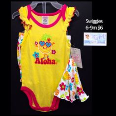 "Swiggles 6-9m Infant Girls ""Aloha"" 3pc Set NEW W/Tag $6"